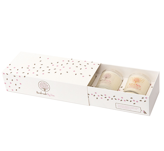 matchbox sleeve and tray with insert for candles retail box open